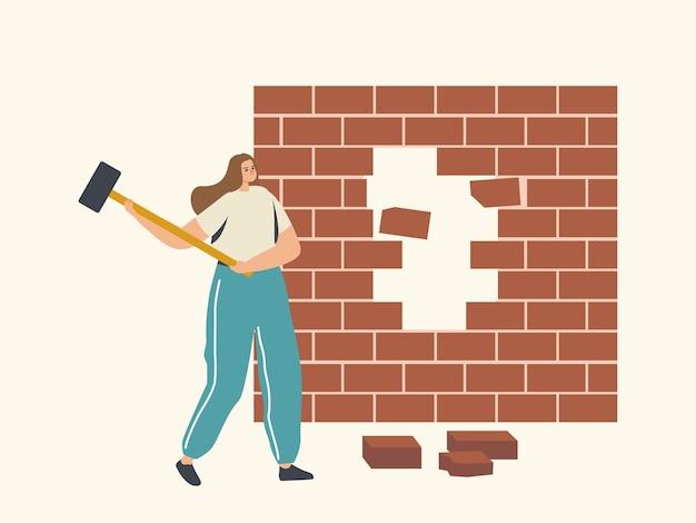 Zakenvrouw karakter breken bakstenen muur obstakels overwinnen, zakelijke doel missie, uitdaging, taak oplossing, zakenvrouw doel prestatie, vechten met problemen concept
