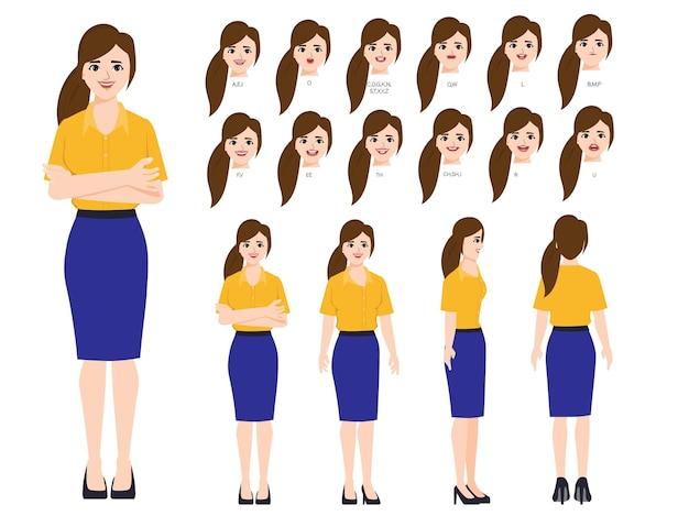 Zakenvrouw karakter met verschillende poses en emoties