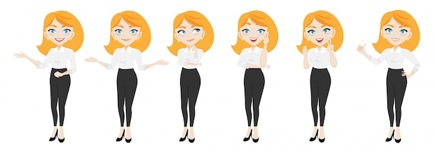 Zakenvrouw karakter of zakenvrouw cartoon in verschillende poses set
