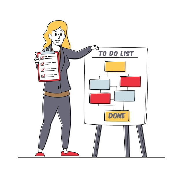 Zakenvrouw karakter staan op takenlijst regeling holding checklist met markeringen in selectievakjes