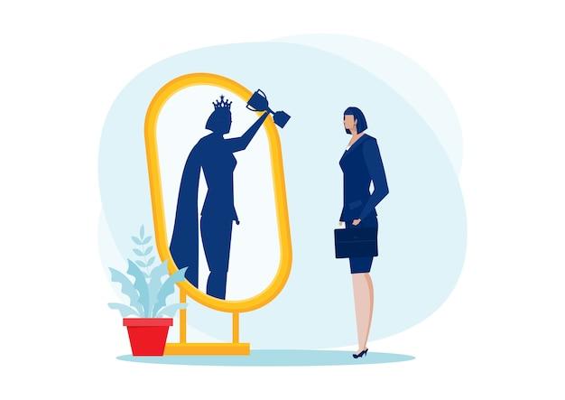 Zakenvrouw kijkt in de spiegel en ziet superkoningin. zelfverzekerde kracht. zakelijke leiding. op blauwe achtergrond