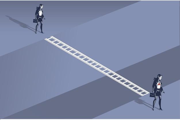 Zakenvrouw klaar om door ladder boven deep gap illustration concept te lopen