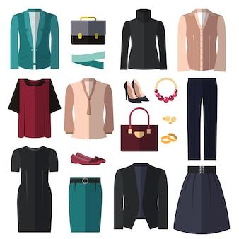 Zakenvrouw kleding en accessoires set. elegantie mode kleden voor zakelijke stijl.