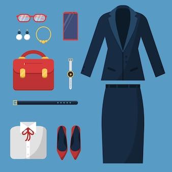 Zakenvrouw kleding. mode vrouwelijke kantoor casual stijl garderobe rok jas pak hoed tas horloge zakelijke items bovenaanzicht