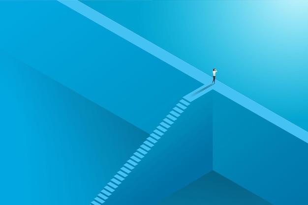 Zakenvrouw klimladder voor zichtmogelijkheden en prestatie over de muur