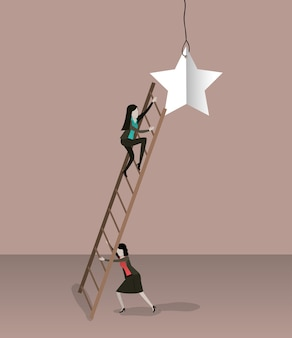 Zakenvrouw klimmen houten trap om een ster te bereiken