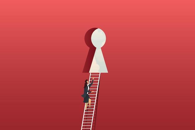 Zakenvrouw klimmen ladder op rode grote muur naar sleutelgat