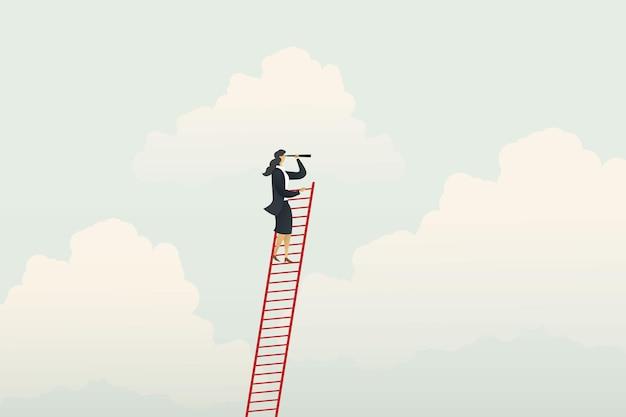 Zakenvrouw klimmen ladder visie kansen en prestatie