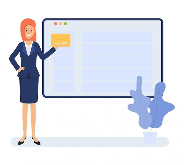 Zakenvrouw krijgt een brief. e-mail verzenden en ontvangen concept. communicatietechnologie op netwerk.