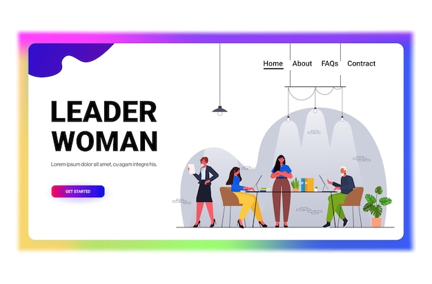 Zakenvrouw leider werken met ondernemers team teamwork concept moderne kantoor interieur horizontale volledige lengte vectorillustratie
