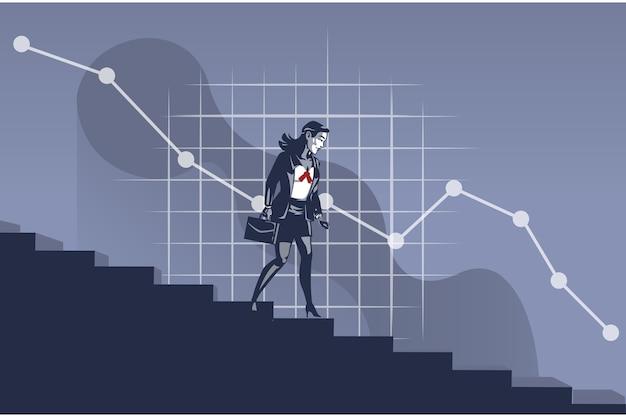 Zakenvrouw lopen trap geconfronteerd met afnemende zakelijke grafiek illustratie concept