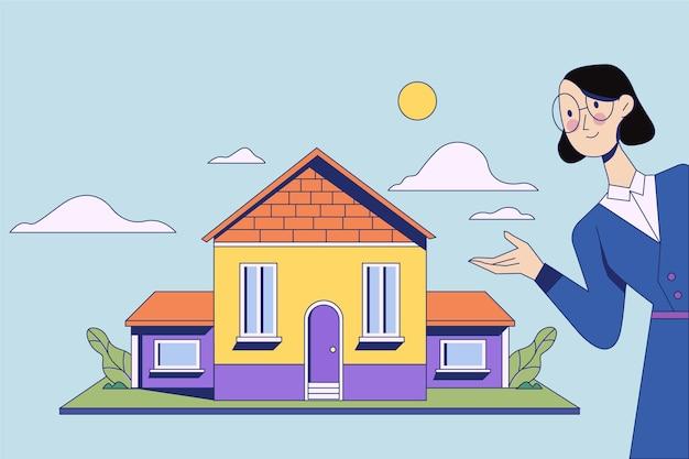 Zakenvrouw makelaar bijstand en huis te koop