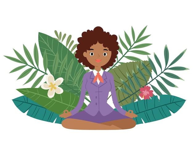 Zakenvrouw meditatie, blijf kalm en ontspan spirituele zen evenwicht lotus yoga illustratie.