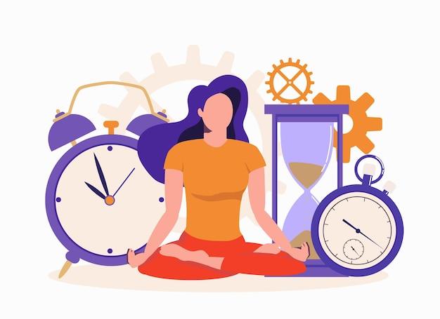 Zakenvrouw mediteren op kantoor het meisje zit in de lotuspositie tijd plannen