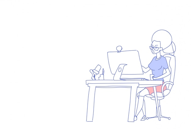 Zakenvrouw met behulp van computer zitten bureau werkplek vrouw baas drinken koffie werkproces vrouwelijke schets doodle karakter horizontaal