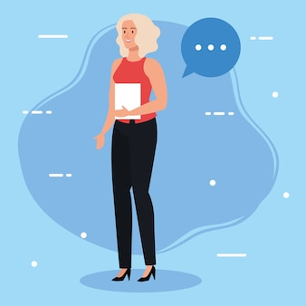 Zakenvrouw met document en toespraak bubble afbeelding ontwerp