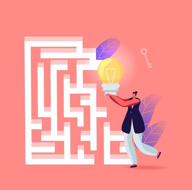 Zakenvrouw met enorme gloeilamp op zoek naar uitgang in labyrint of doolhof idee vinden