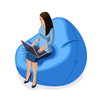 Zakenvrouw met gadgets, jonge ondernemer die achter laptop werkt, zittend in een comfortabele stoel, illustratie