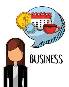 Zakenvrouw met kalender geld koffie in bubble chat