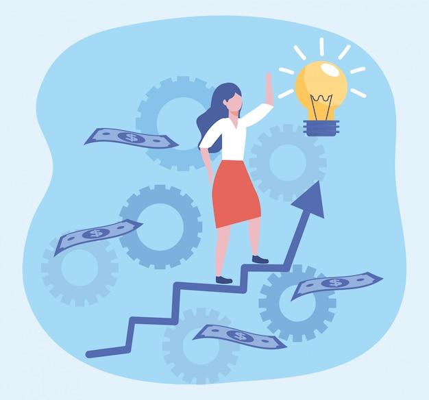 Zakenvrouw met lamp idee en rekeningen met pijl
