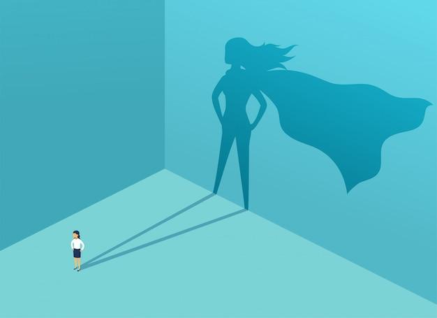Zakenvrouw met schaduw superheld