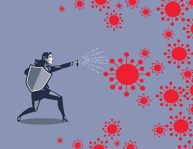 Zakenvrouw met schild en spray vechten tegen coronavirus draad illustratie concept