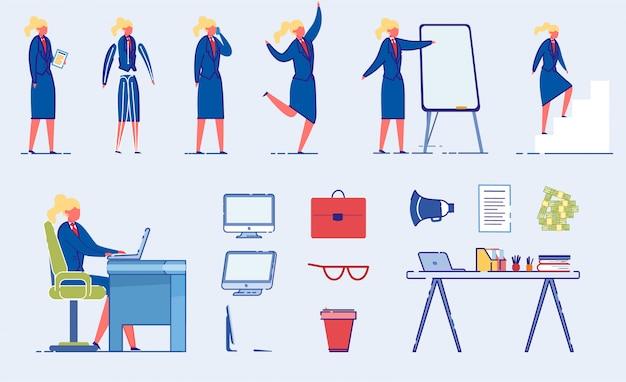 Zakenvrouw of kantoor werknemer karakter vormt set