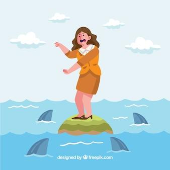Zakenvrouw omringd door haaien