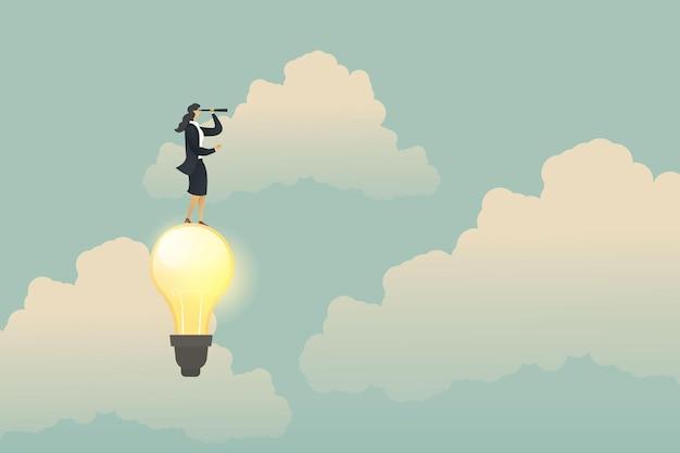 Zakenvrouw op zoek naar kansen op gloeilamp. business idee concept. illustratie vector
