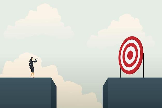 Zakenvrouw permanent op zoek naar kansen doel. illustratie vector