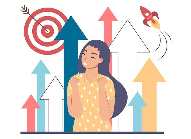 Zakenvrouw, pijlen omhoog, doel en vliegende raket, platte vectorillustratie. professionele carrièregroei, succes, lancering van bedrijfsprojecten, carrièreplanning, boost.
