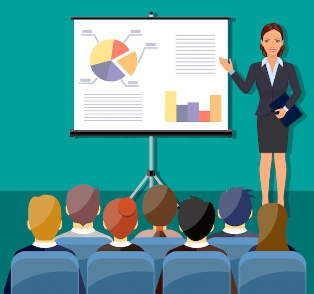 Zakenvrouw presentatie maken