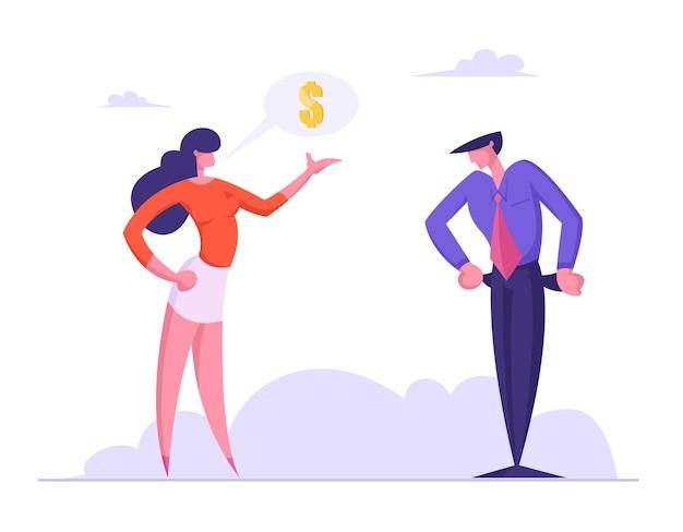 Zakenvrouw schuldeiser of bankmedewerker vraagt financiering van zakenman zonder geld