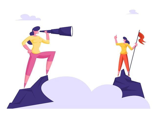 Zakenvrouw staan op de top van de berg met rode vlag kijken naar spyglass