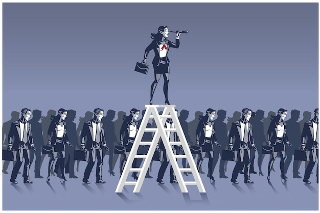 Zakenvrouw staande op ladder vooruit kijken met behulp van verrekijker illustratie bedrijfsconcept