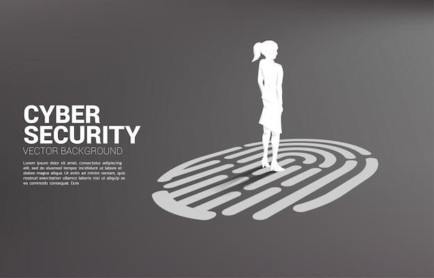 Zakenvrouw staande op vinger scan pictogram achtergrond sjabloon