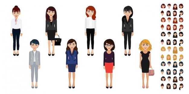 Zakenvrouw stripfiguur hoofdset. mooie zakenvrouw in platte kantoorstijl