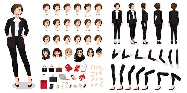 Zakenvrouw stripfiguur in zwart pak creatie set met verschillende weergaven, kapsels, gezichtsemoties, lipsynchronisatie en poses.