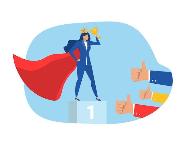 Zakenvrouw succes met empowerment vrouw over overwinning op succes