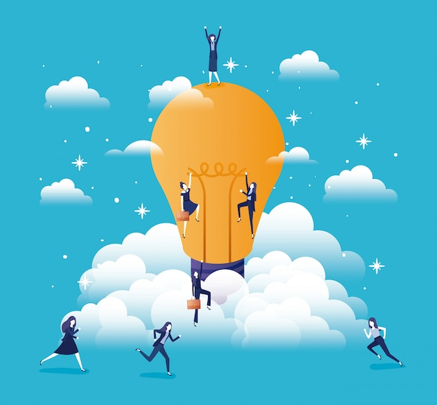 Zakenvrouw team met lamp