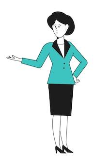 Zakenvrouw toont. kantoor werknemer demonstratie hand teken vectorillustratie