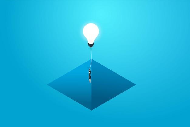 Zakenvrouw vliegen met gloeilamp omhoog kloof en zakelijke oplossing creatief idee concept illustratie