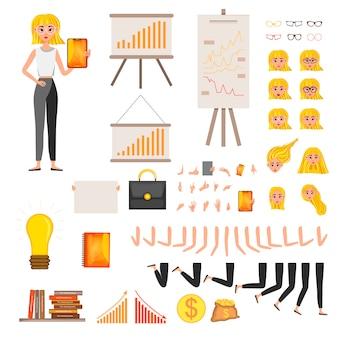 Zakenvrouw werkend karakter ontwerpset. vector illustratie.