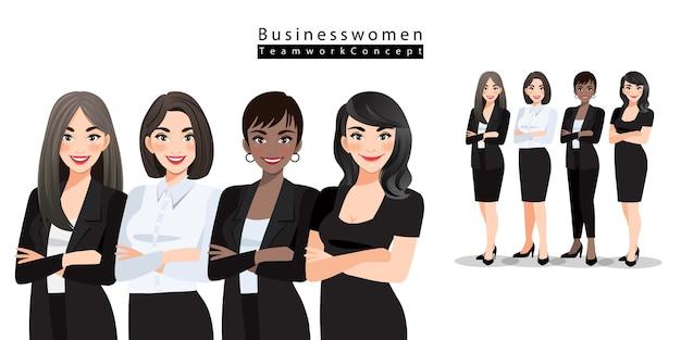 Zakenvrouwen of kantoorpersoneel staan met gevouwen armen. multinationaal teamconcept. diverse cartoonvrouwen van verschillende rassen, huidskleur in kantooroutfits.