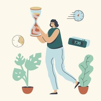 Zakenvrouwkarakter draagt enorme zandloper, tijdmanagement, uitstelgedrag, gebrek aan tijd