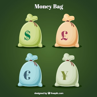 Zakken met valuta symbool