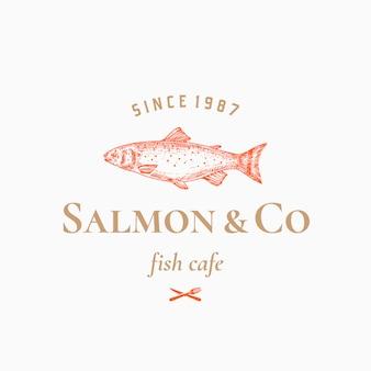 Zalm abstracte teken, symbool of logo sjabloon met hand getrokken vis met stijlvolle retro typografie.
