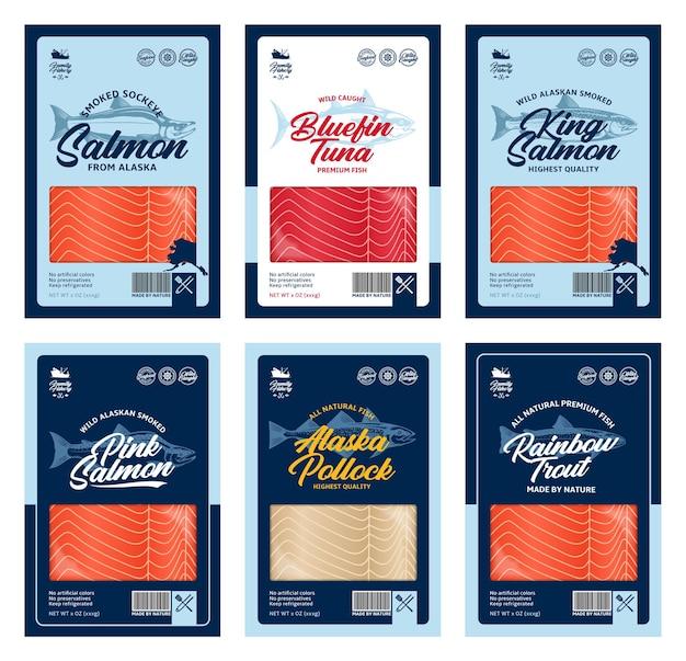 Zalm, forel, tonijn en alaska koolvisillustraties en visvleestextuur voor verpakkingen, visserij, reclame, enz
