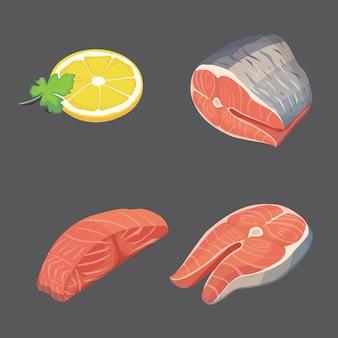 Zalm steak en citroen. verse biologische zeevruchten. illustratie.
