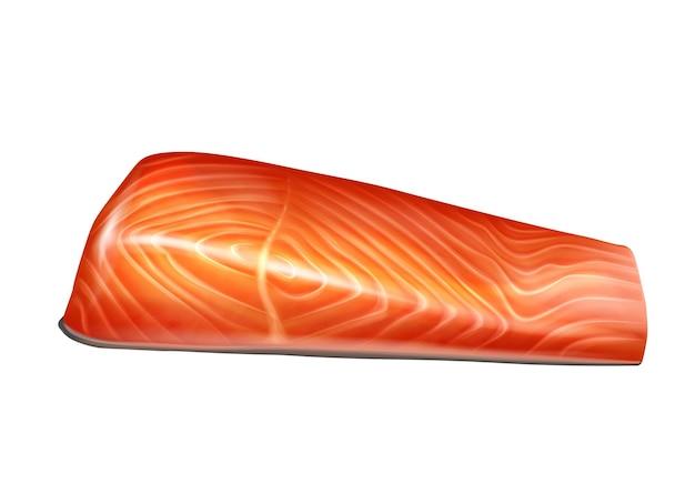 Zalm visfilet segment realistische vectorillustratie geïsoleerd. rauwe rode vis gepelde filet, verse forel steak.